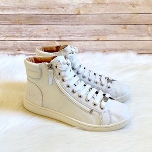 UGG White Leather Olive High Top Sneakers